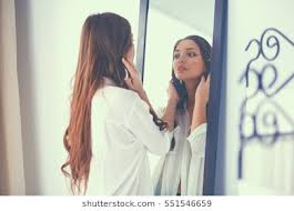 looking in mirror. Beautiful Mirror Young Woman Looking Herself Reflection In Mirror At Home Intended Looking In Mirror