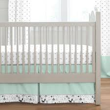 mint and gray baby woodland crib bedding
