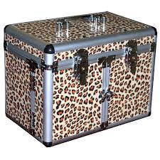 leopard print cosmetic jewelry train case hard case