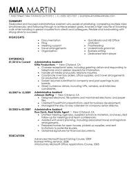 sample resume template for administrative assistant with experience office administration sample resume