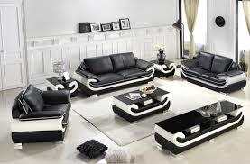 Divani Casa T Modern Black  White Bonded Leather Sofa Set - All leather sofa sets