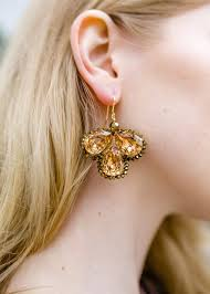image of gold swarovski crystal large chandelier earrings to view