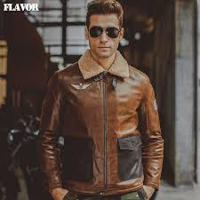 dropwow men s real leather jacket pigskin air force flight jackets genuine leather aviator jacket winter warm coat men er jackets