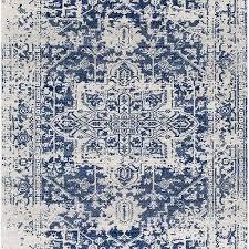 prisha distressed white blue medallion fl rug