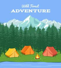 Outdoor Camping Nature Background With River And Forest Mountains