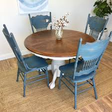 round table and chairs farmhouse furniture blue dining chairs with oak dining table extendable table oval table vintage furniture