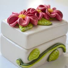 Decorative Ring Boxes Flower Jewelry Box Ceramic Box from CraftyClayStudio on Etsy 45