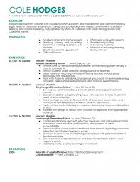 Teaching Experience Examples Resume Cover Letter