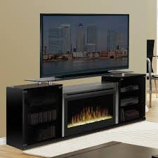 black entertainment center with glass tv stand and electric fireplace