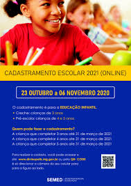 cadastramento escolar para o ano letivo de 2021 será online |