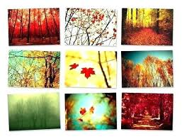 fall wall art autumn leaves metal decor design nine piece canvas red blue ideas