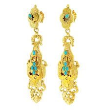 antique turquoise chandelier antique persian turquoise gold chandelier earrings for