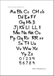 Spanish Chart Manuscript Letters Aa Zz Zb Style Font