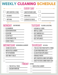 Weekly Household Cleaning Schedule Printable Weekly Cleaning Schedule For Working Moms Download Them
