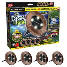 Disk Lights Solar Bell Howell Solar Powered Bronze Outdoor Integrated Led Super Bright In Ground Path Disk Light 4 Per Box