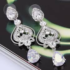 wedding bridal earrings pageant earrings chandelier earrings sparkling earrings silver plated cz crystal dangling teardrop earring vintage