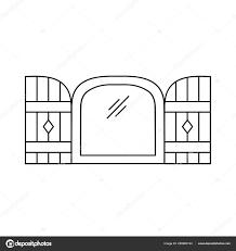 Schwarzen Weiße Darstellung Der Alten Bogen Fenster Auslöser Vektor