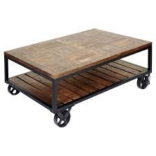 Two Tier Industrial Trolley Wheel Coffee Table - Dark Bronze Powder Coat -  Stylecraft