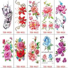 10 Sheets Different Flowers Temporary Tattoo Gorgeous Colorful Waterproof Art Fake Tattoos Sticker Rose Peony For Womens Girls