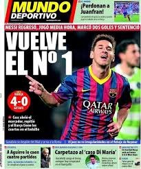Portada Mundo Deportivo (09/01/2014) - Vuelve el Nº 1