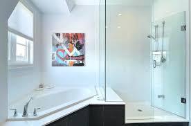 glass shower tub glass shower tub corner shower stall bathroom contemporary with artwork corner tub glass