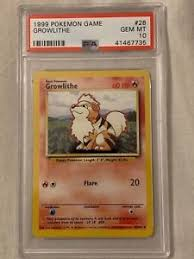 Pokemon Card Printable Pokemon Card Base Set 4th Print Uk Growlithe Psa 10 Tcg Trading Gem