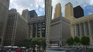 city building side. daley plaza side-by-side comparison. city building side
