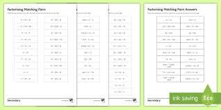 factorising matching pairs