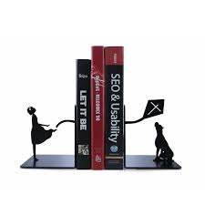 creative with dog metal bookshelf study room bookends table ornament kids book holder for reading