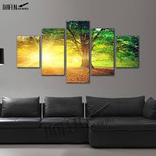 5 panel canvas picture golden sunshine forest tree landscape painting wall art canvas print home decor on wall art canvas picture print with 5 panel canvas picture golden sunshine forest tree landscape