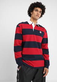 karl kani stripe rugby polo shirt red blue