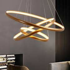 modern gold chandelier ultra thin multi ring 20 50 100w inner led chandeliers foyer