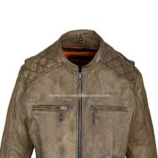 mens distressed brown leather motorcycle jacket with diamond 3