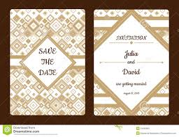Romantic Date Invitation Template Geometrical Save The Date Or Wedding Invitation Card Vintage Vector