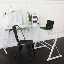 walker edison soreno 3 piece corner desk black with black glass view larger