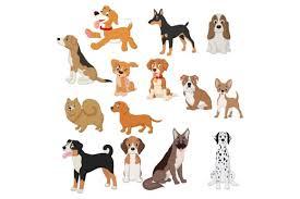 cute cartoon dogs vector set graphic