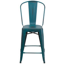 24 high distressed kelly blue teal metal indoor outdoor counter height stool