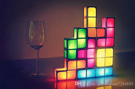 tetris stackable led desk lamp seven piece interlocking light fixture for fans of tetris