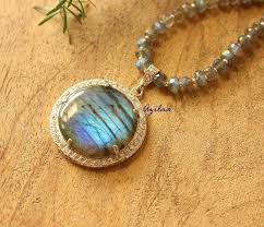 labradorite gemstone sterling silver pendant