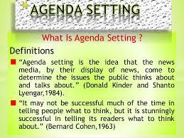 Agenda Setting Agenda Setting Presented By H Ghulam Ali Saqi From