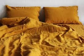 linen duvet cover in mustard color