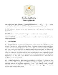 Catering Contract Peached Package Free Download