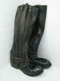 bed stu zip tango distressed black genuine leather tall boots size 6 5 2079 for