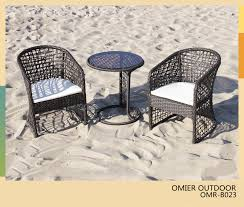 modern outdoor bistro furniture wicker rattan bistro table and chairs set omr b023
