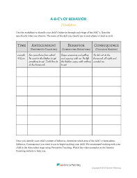 Abc Behaviour Chart Example Resources Smarter Parenting