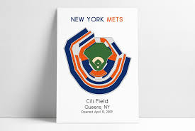 New York Mets Mlb Stadium Map Ny Mets Ballpark Map Baseball Stadium Map Gift For Him Stadium Seating Chart Man Cave