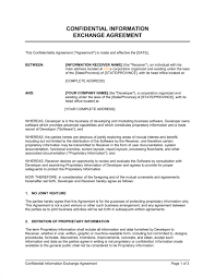 Confidential Information Exchange Agreement Template Word Pdf