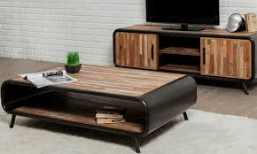 industrial wood coffee table curved end