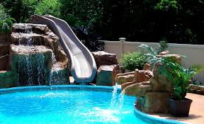 Backyard pool with slides Beautiful Water Hookup Simply Means That Running Water Will Slide Along The Flume When The Unit Is Being Used Outdoor Chief Top Best Pool Slides For Backyard Water Fun Outdoor Chief