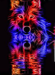 Galaxy wolf, blue, neon, red, wolves ...